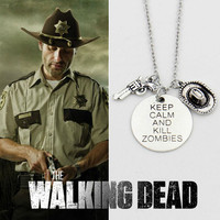 Vintage The Walking Dead Rick's Gun & Hat Necklace three pendants keep clam and kill zombies jewelry