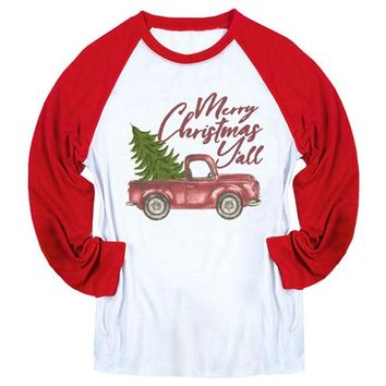 Merry Christmas Y'all Graphic Tees Women Long Sleeve Tshirt Women Causal Harajuku Plus Size Top Cotton Raglan Tee Christmas Gift