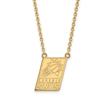 NBA 14k Gold Plated Silver Phoenix Suns Lg Pendant Necklace, 18 Inch