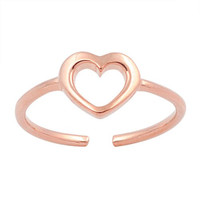 Hollow Heart Rose Gold-Tone Plated Knuckle/Toe Ring Sterling Silver 925