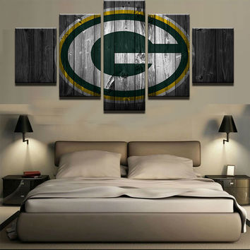 Green Bay Packers Football Canvas Barn Wood Style