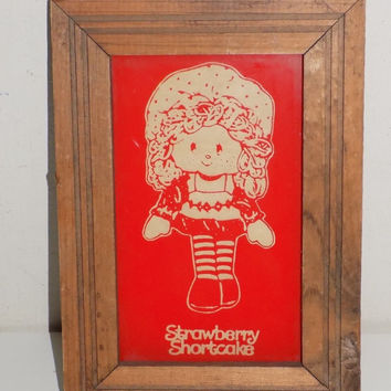 Vintage Strawberry Shortcake Reverse Painted Glass Picture in Frame