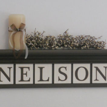 "Personalized Family Names and Signs 30"" Shelf with 8 Wooden Letter Tiles Painted Chocolate Brown and White NELSON with Hearts"