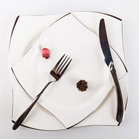 Dishes Plates Silver Inlay Bone-China  Dessert Bowls Steak Western Cutlery Suit Tableware  Household Food Plate
