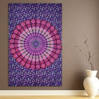 ModTradIndia Pink & Purple Mandala Indian Tapestry