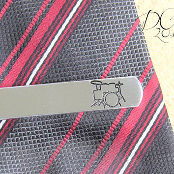 Drummer, Music, Personalised Gift, Personalized Tie Bar, Tie Clip, Gift for Him, Custom Tie Clip, Engraved Tie Bar, Brother Gift