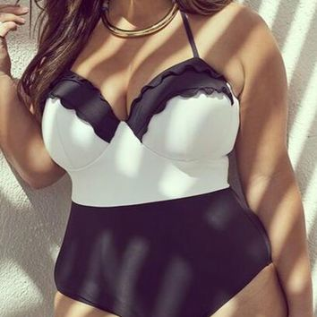 Plus Size Patchwork One Piece Swimsuit