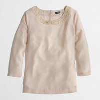 FACTORY DRAPED SEQUIN-COLLAR TOP