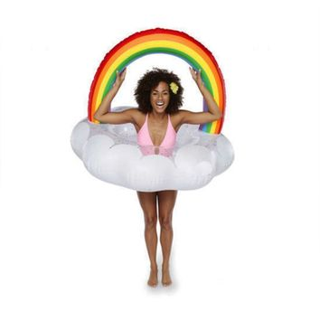 Adults Inflatable Rainbow Cloud Pool Float 2018 Newest Summer Ride-On Swimming Ring Pool Water Party Toys Piscina Raft Lounge