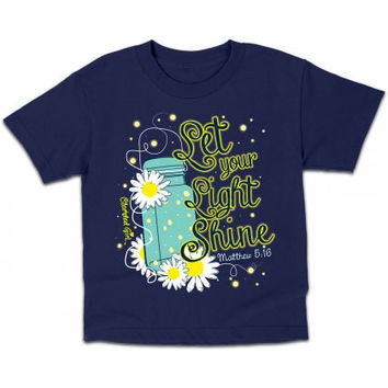 Cherished Girl Youth Kids Let Your Light Shine Mason Jar Lightning Bug Christian Girlie Bright T Shirt