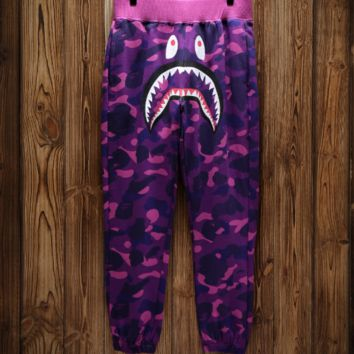 Bape shark camouflage shark trousers and guard pants with high quality 5 color camouflage purple