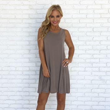 Scoop Back Jersey Dress In Mocha