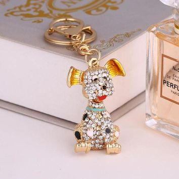 2017 New Charm Lovely Dog Key Chain Crystal Animal Key Pendant Couple Jewelry Bag Car Charm Keychains Wedding Accessories K129