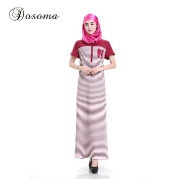 Casual Muslim Short Sleeve Cotton Maxi Dress Islamic Robe Burka Women Stripe Abaya Kimono Vestidos Saudi Instant Hijab Arab