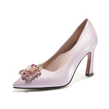 Women's Chunky Heel Pumps Wedding Shoes Shallow-mouthed