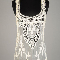 Ivory Crochet Sleeveless Top | Bellum&Rogue