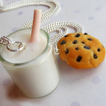polymer clay chocolate chip cookie and milk best friend necklaces friendship necklaces bff