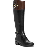 MICHAEL Michael Kors Stockard Wide Calf Riding Boots - Black/Mocha