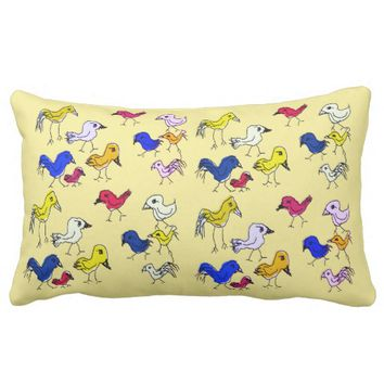 Funky Colorful Birds Throw Pillow Cushion