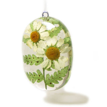 Daisy Jewelry - Flower Jewelry - Necklace Charm - Resin Pendant - Summer Jewelry - Handmade Resin Jewelry - Real Flower Jewelry -