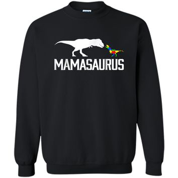 Mamasaurus Autism Mom Shirt To Raise Autism Awareness Printed Crewneck Pullover Sweatshirt