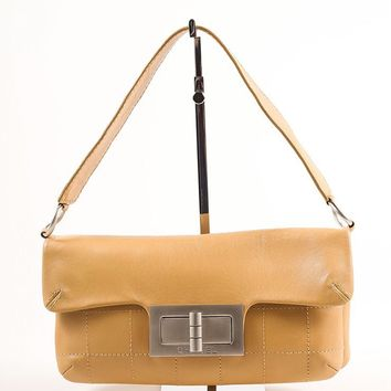 Tan Quilted Leather Flap Turn Lock Shoulder Bag