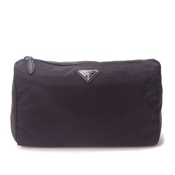 Prada Large Unisex Toiletry and Cosmetics Travel Zippered Pouch Case Bag in Tessuto Nylon and Saffiano Leather