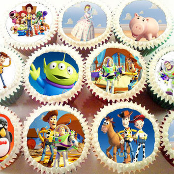 CUSTOM DESIGNED TOY STORY EDIBLE IMAGE CUPCAKE COOKIE TREAT Toppers