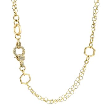 Fern Freeman Diamond Clasp Hex Elements Chain and Lariat Necklace (Special Order)