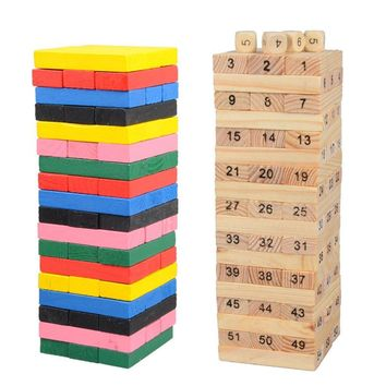 54pcs/set Portable Non-Toxic Children Kids Wooden Building Blocks Toys Early Educational Play Game Toy Best Gift
