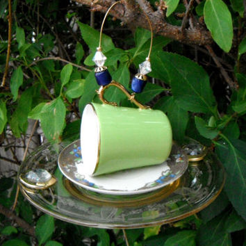 Mini Tea Cup Bird Feeder, Vintage Recycled Tea Cup, Espresso Cup, Hanging Garden Yard Art, Upcycled Repurposed Art, Porch Patio Decor, Gift