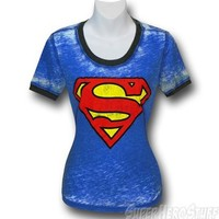 Superman Juniors Hippie Ringer T-Shirt