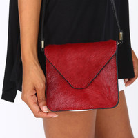 MINI ENVELOPE CALF HAIR SHOULDER BAG - RED