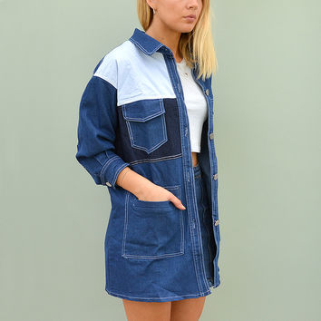Oversize Denim Shirt Jacket - Trio Colour