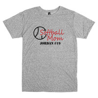 Softball mom shirt.  Personalized with player's name and number. Tshirt in grey.  Softball.