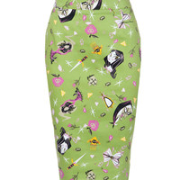 Laura Byrnes California High Waisted Pencil Skirt in Villains Print