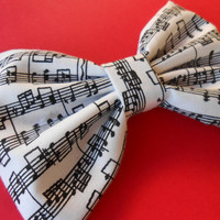 Musical Notes Hair Bow, Girls Hair Bow, Fabric Hair Bow, Big Bow