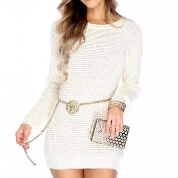 Sexy Cream Open Knitted Long Sleeve Sweater Dress