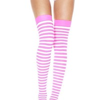 Opaque Striped [White/Fuchsia] | THIGH HIGH