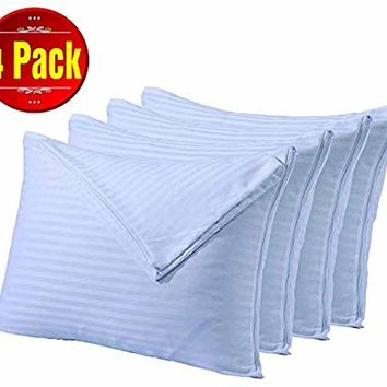 Niagara Sleep Solution Pillowcases Queen Zip 4 Pack 20x30 inches Pillow Covers White Protectors Cotton Sateen Stripe Set Zippered