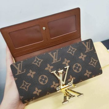 LV Tide brand women's classic print long flip wallet Coffee Print