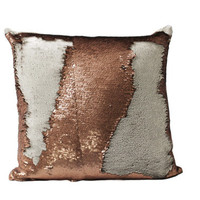 Copper Mermaid Reversible Luxury Sequin Pillow Velvet Back Throw Pillow With Filler