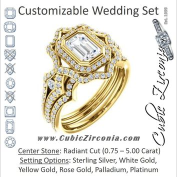 CZ Wedding Set, featuring The Arya engagement ring (Customizable Radiant Cut with Ultrawide Pavé Split-Band and Nature-Inspired Double Halo)