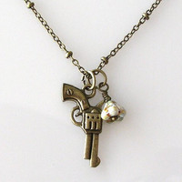 3D Gun Necklace Weapon Necklace Western Cowboy by KriyaDesign