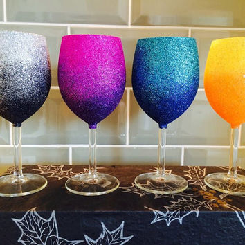 Set of 4 Ombre Glitter Wine Glasses