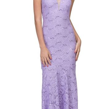 Lace Mermaid Evening Gown V-Neck with Mesh Panel Lilac