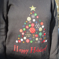 Tacky chrismtas sweater, christmas sweater, tacky holiday sweater, holiday sweater, black sweater, christmas tree, christmas, happy holidays