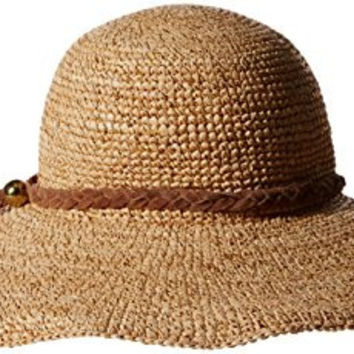 'ale by alessandra Women's Dunas Crochet Raffia Straw Hat with Shimmer, Gold Shimmer/Brown, One Size