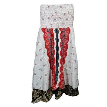 Mogul Womens White Silk Sari Dress Two Layer Printed Recycled Vintage Boho Gypsy Hippie Maxi Skirts - Walmart.com