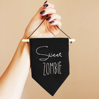Sweet ZOMBIE | singage | bannerwall hanging | flag | pennant | banner | Halloween Sign to Hang on Door and Use as Photo Prop